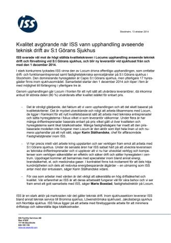 Kvalitet avgörande när ISS vann upphandling avseende teknisk drift av S:t Görans Sjukhus