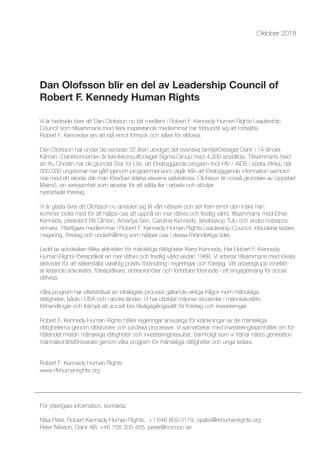 Dan Olofsson blir en del av Leadership Council of Robert F. Kennedy Human Rights