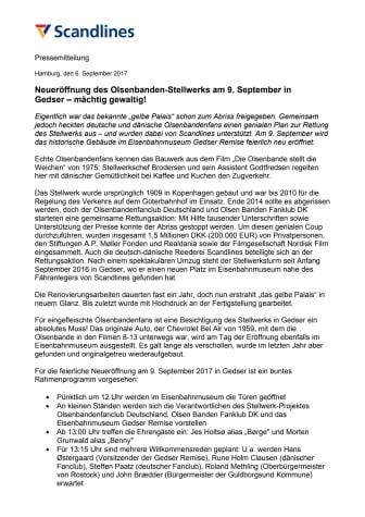 Neueröffnung des Olsenbanden-Stellwerks am 9. September in Gedser - mächtig gewaltig!