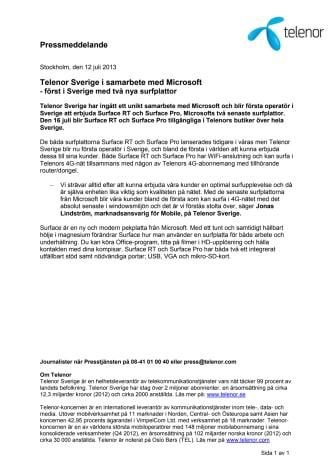 Telenor Sverige i samarbete med Microsoft - först i Sverige med två nya surfplattor
