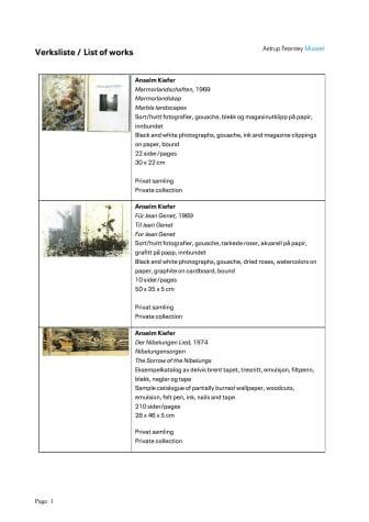 List of Works - Anslem Kiefer – Books and Woodcuts