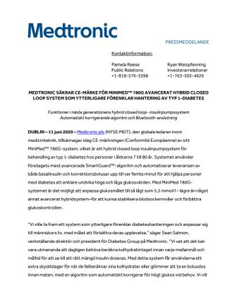 MEDTRONIC SÄKRAR CE-MÄRKE FÖR MINIMED™ 780G AVANCERAT HYBRID CLOSED LOOP SYSTEM SOM YTTERLIGARE FÖRENKLAR HANTERING AV TYP 1-DIABETES