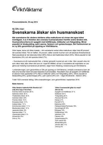 Svenskarna älskar sin husmanskost