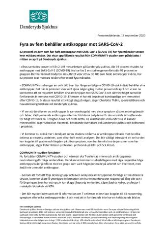 Fyra av fem behåller antikroppar mot SARS-CoV-2