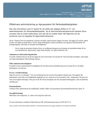 Effektivare administrering av Aptussystem för flerbostadsfastigheter