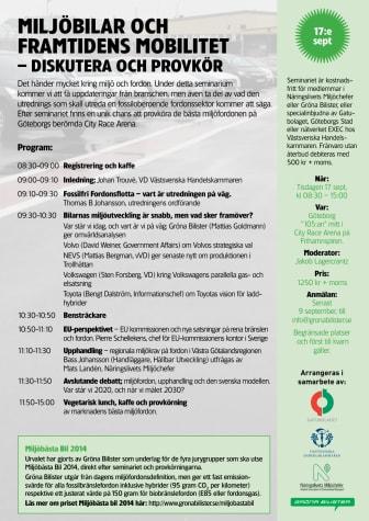 Miljöbilar och framtidens mobilitet– diskutera och provkör den 17 september