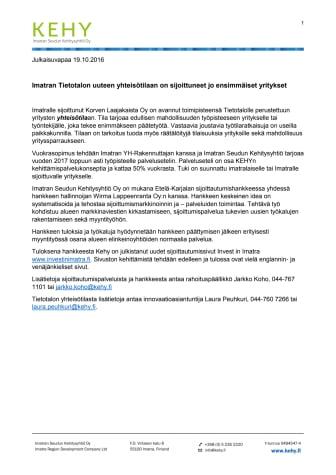 Imatran Tietotalon uuteen yhteisötilaan on sijoittuneet jo ensimmäiset yritykset