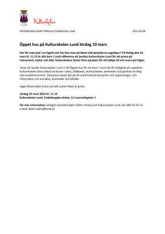 Öppet hus på Kulturskolan Lund lördag 10 mars
