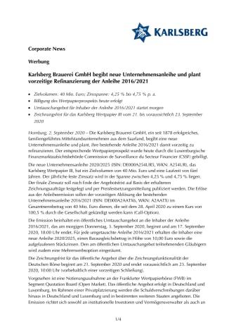 Karlsberg Brauerei GmbH begibt neue Unternehmensanleihe und plant vorzeitige Refinanzierung der Anleihe 2016/2021