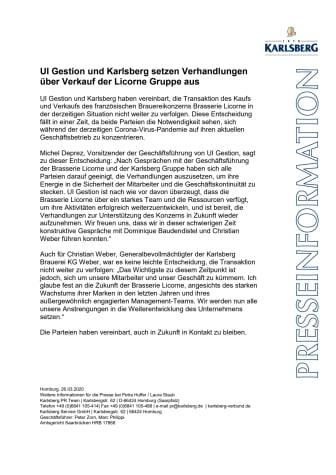 UI Gestion und Karlsberg setzen Verhandlungen über Verkauf der Licorne Gruppe aus