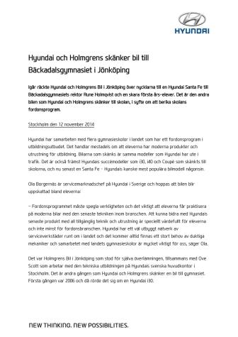 Hyundai och Holmgrens skänker bil till Bäckadalsgymnasiet i Jönköping