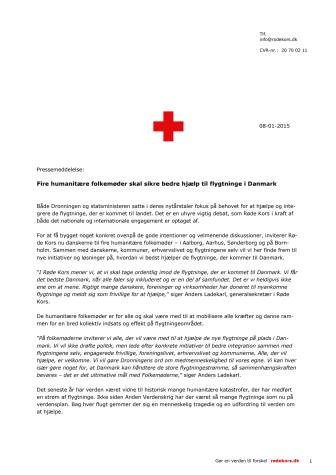 Fire humanitære folkemøder skal sikre bedre hjælp til flygtninge i Danmark