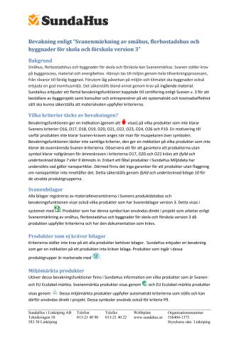 Ny funktion i SundaHus Miljödata ger stöd vid Svanenmärkning av hus