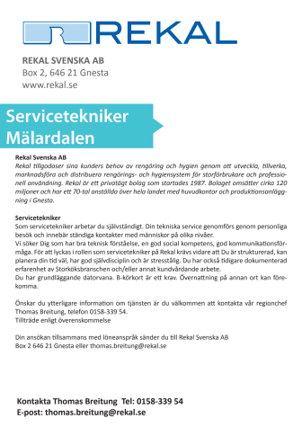 Rekal söker Servicetekniker