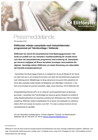Elitfönster inleder samarbete med industritekniska programmet på Teknikcollege i Vetlanda