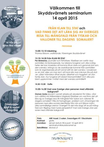 Per Brinkemo och Osman Aytar föreläser om Socialt arbete i klankulturer och vad finns det att lära sig av Sveriges resa till mångfald. Välkommen den 14 april!