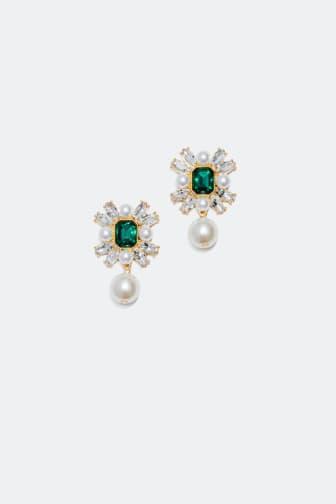 Statement øreringe med sten og perler