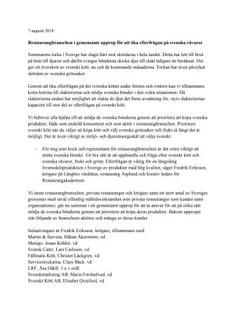 Restaurangbranschen i gemensamt upprop för att öka efterfrågan på svenska råvaror