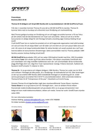 Ny styrelseledamot hos AB GW Greiff & Co / Tuxer