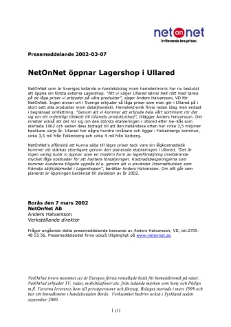 NetOnNet öppnar Lagershop i Ullared