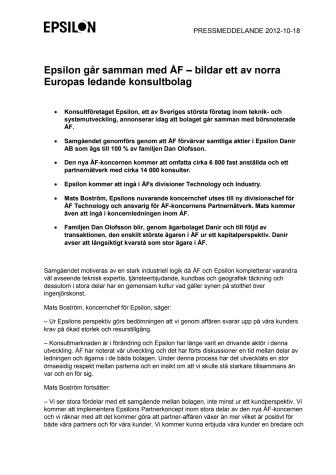 Epsilon går samman med ÅF – bildar ett av norra Europas ledande konsultbolag