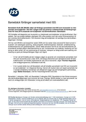 Barsebäck förlänger samarbetet med ISS