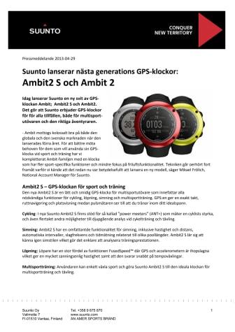Suunto lanserar nästa generations GPS-klockor: Ambit2 S och Ambit 2