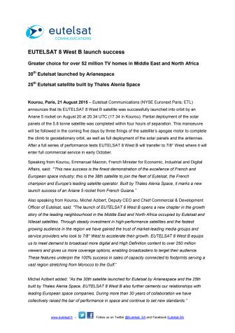 EUTELSAT 8 West B launch success