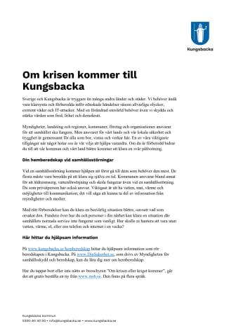 Faktablad: Om krisen kommer till Kungsbacka