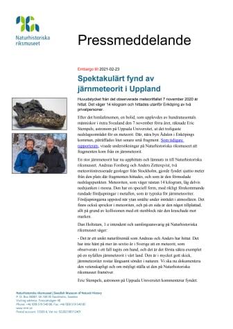 Spektakulärt fynd av järnmeteorit i Uppland