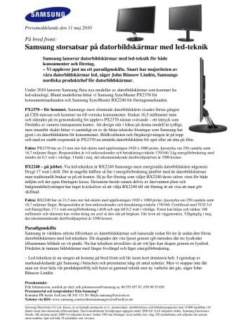 Samsung storsatsar på datorbildskärmar med led-teknik