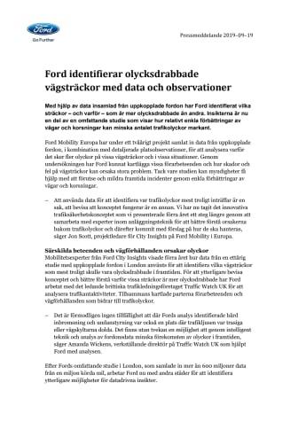 Ford identifierar olycksdrabbade vägsträckor med data och observationer