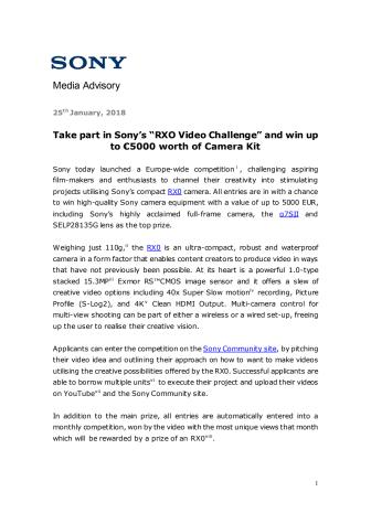 Deltag i Sonys RX0 filmkonkurrence og vind kameraudstyr