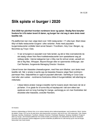 Slik spiste vi burger i 2020