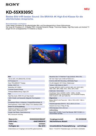 Datenblatt KD-55X9305C von Sony