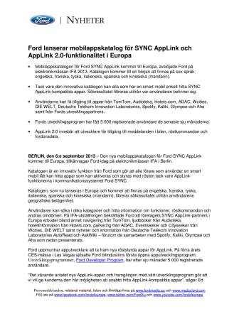 Ford lanserar mobilappskatalog för SYNC AppLink och AppLink 2.0-funktionalitet i Europa