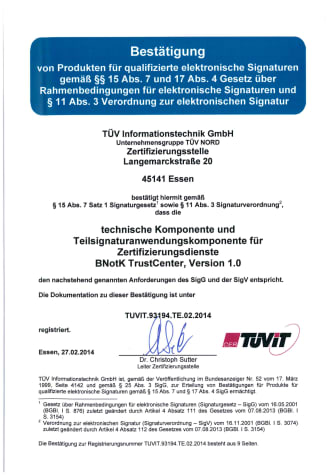 Urkunde TÜV-IT-BNotK-TrustCenter