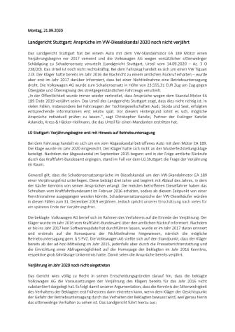Landgericht Stuttgart: Ansprüche im VW-Dieselskandal 2020 noch nicht verjährt