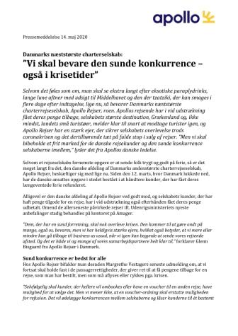"""Danmarks næststørste charterselskab: """"Vi skal bevare den sunde konkurrence – også i krisetider"""""""