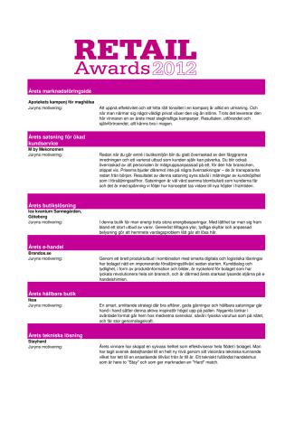 Juryns motiveringar - vinnare Retail Awards 2012