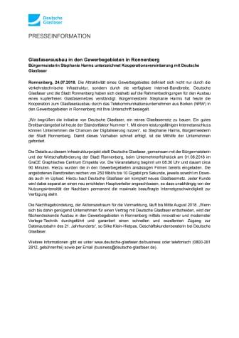 Glasfaserausbau in den Gewerbegebieten in Ronnenberg