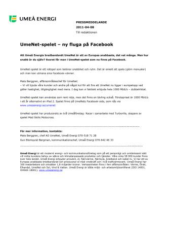 UmeNet-spelet – ny fluga på Facebook