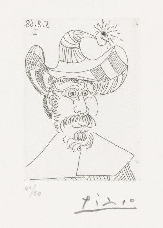 Pablo Picasso: 5. august 1968. © Succession Pablo Picasso / BONO 2019. Foto: Nasjonalmuseet for kunst, arkitektur og design