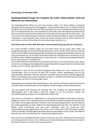 Bundesgerichtshof beugt sich Vorgaben des EuGH: Widerrufsjoker sticht bei Millionen von Autokrediten