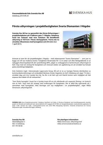 Första uthyrningen i projektfastigheten Svarta Diamanten i Högsbo