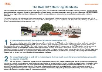 The RAC 2017 Motoring Manifesto - summary