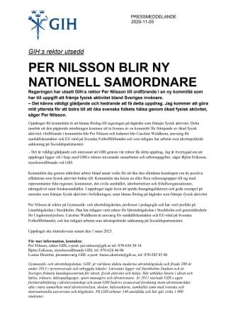 GIH:s rektor Per Nilsson blir ny nationell samordnare