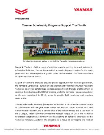 Yanmar Scholarship Programs Support Thai Youth