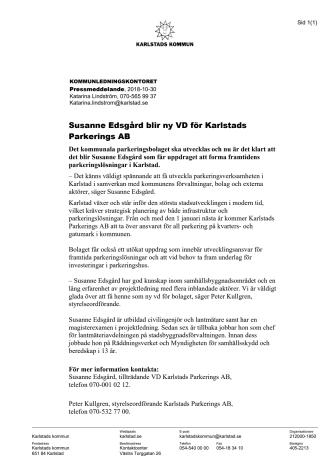 Susanne Edsgård blir ny VD för Karlstads Parkerings AB