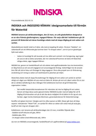 INDISKA och INGEGERD RÅMAN i designsamarbete till förmån för WaterAid